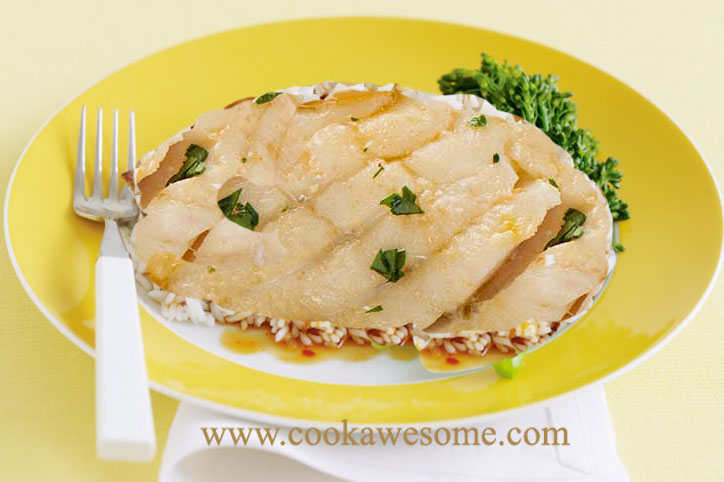 Baked Basa Fish with Bhat