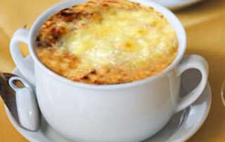French Onion Soup with Cheese Souffle Recipe