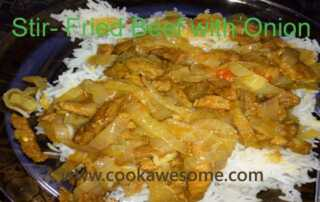 Fried beef with onion